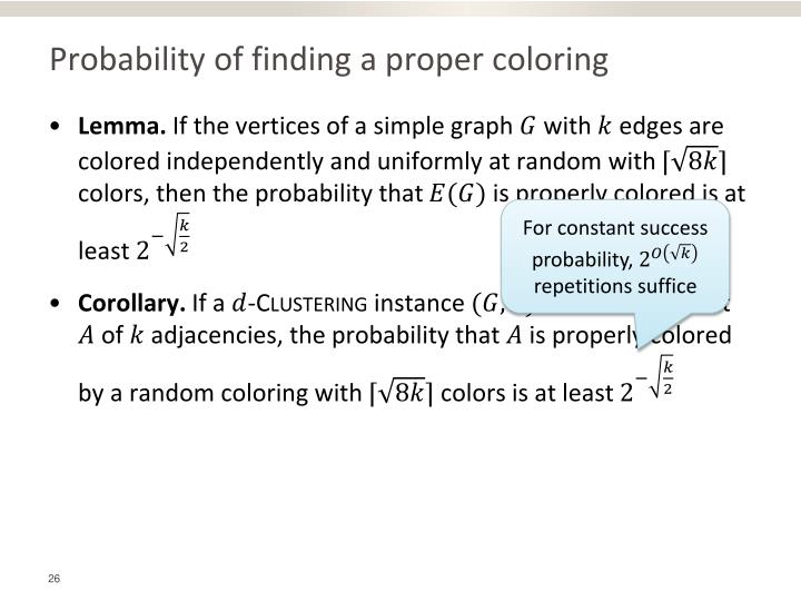 Probability of finding a proper coloring