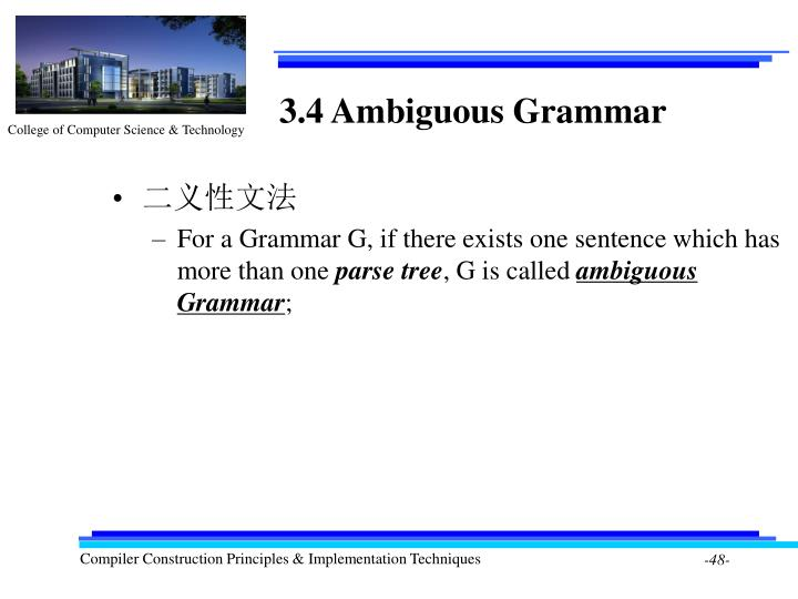 3.4 Ambiguous Grammar