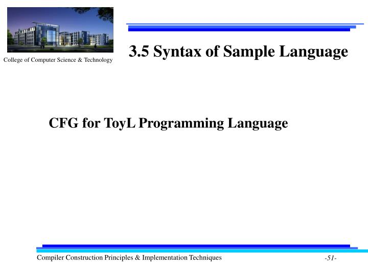 3.5 Syntax of Sample Language
