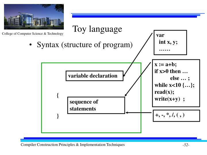 Toy language