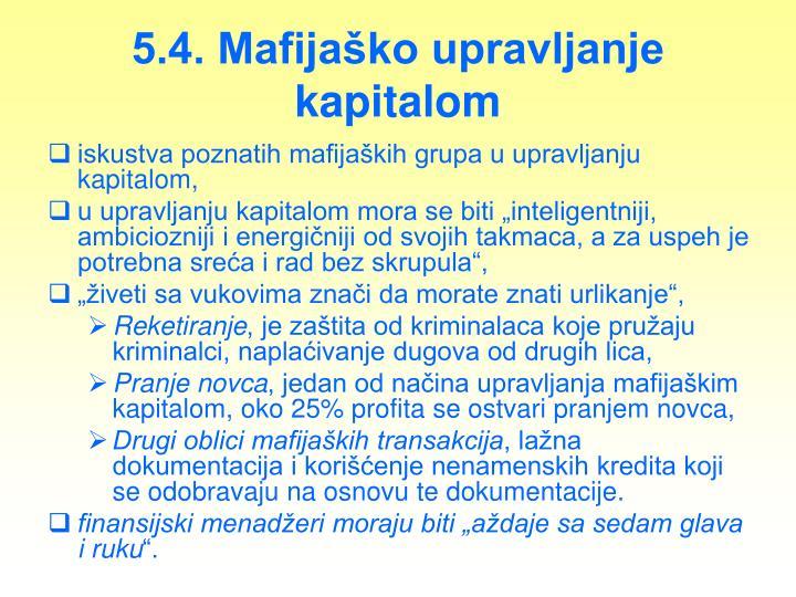 5.4. Mafijaško upravljanje kapitalom