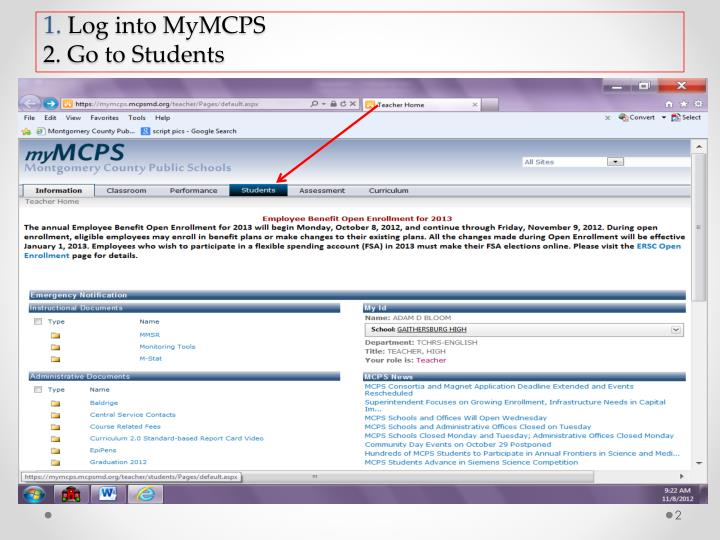 1 log into mymcps 2 go to students