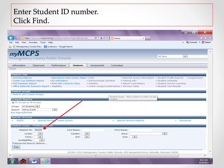 Enter student id number click find