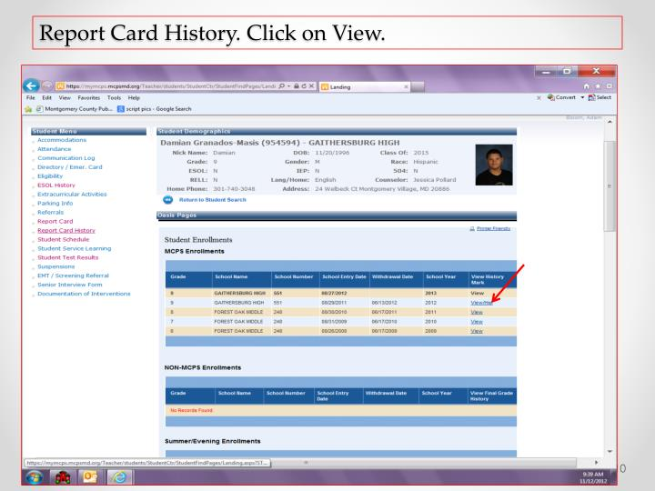 Report Card History. Click on View.