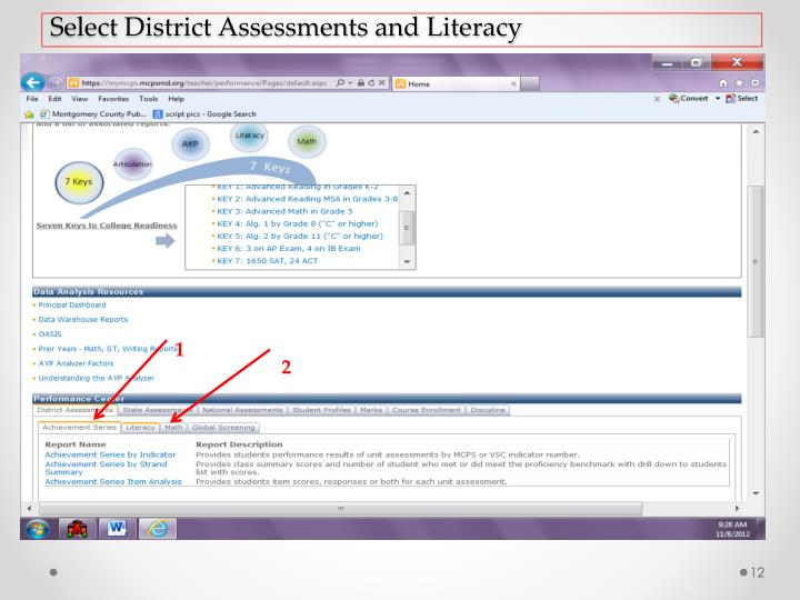Select District Assessments and Literacy