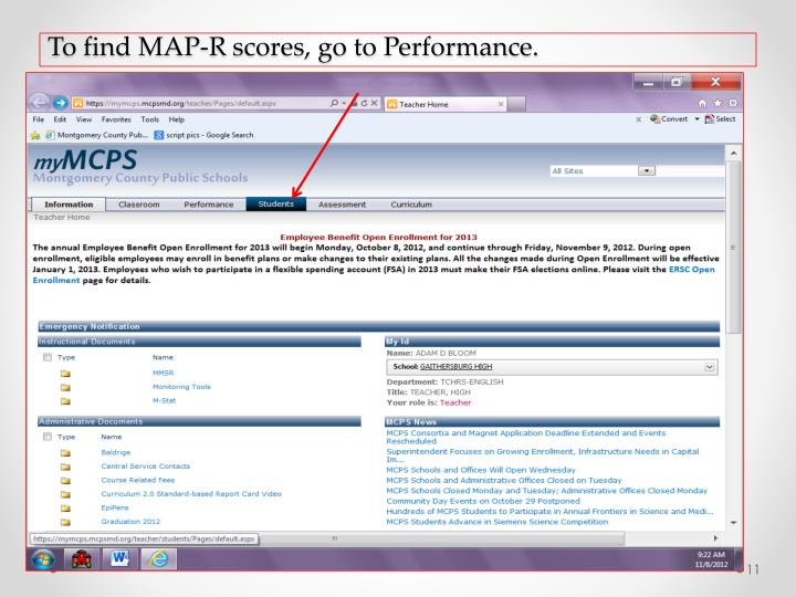 To find MAP-R scores, go to Performance.