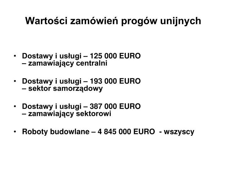 Wartości zamówień progów unijnych