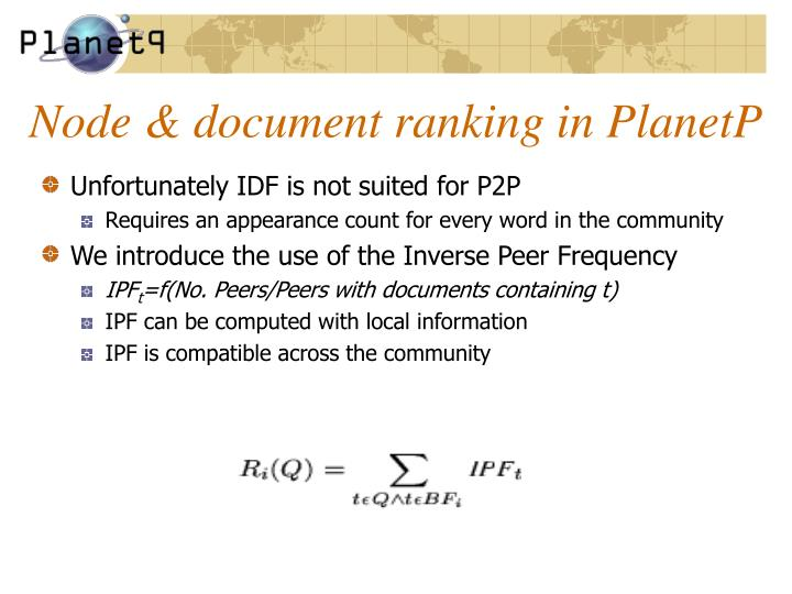 Node & document ranking in PlanetP