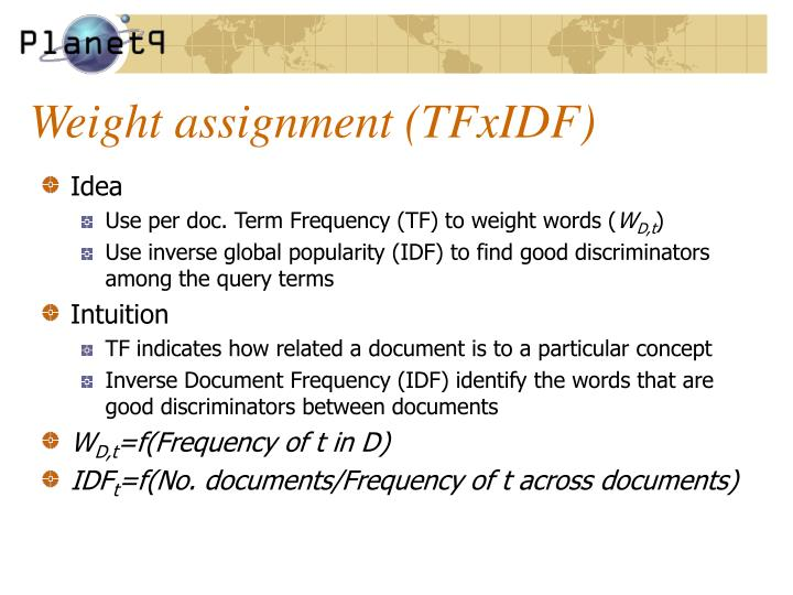 Weight assignment (TFxIDF)