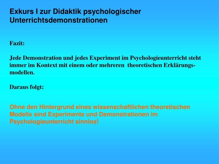 Exkurs I zur Didaktik psychologischer Unterrichtsdemonstrationen