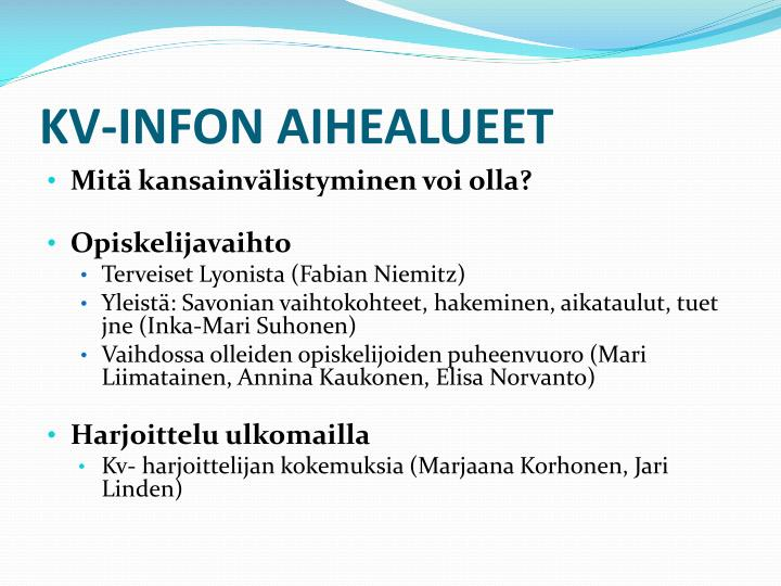 KV-INFON AIHEALUEET