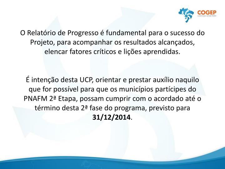 O Relatório de Progresso é fundamental para o sucesso do Projeto, para acompanhar os resultados alcançados, elencar fatores críticos e lições aprendidas.