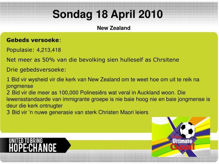 Sondag 18 April 2010
