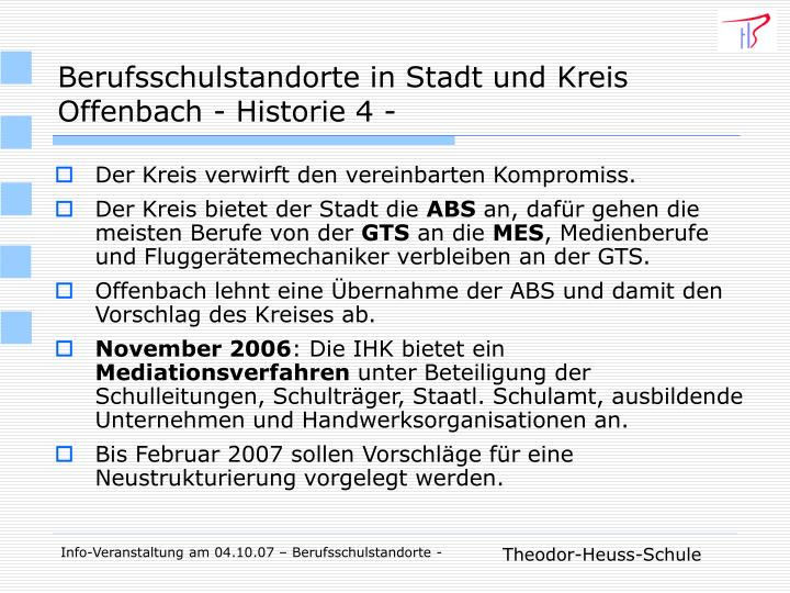 Berufsschulstandorte in Stadt und Kreis Offenbach - Historie 4 -