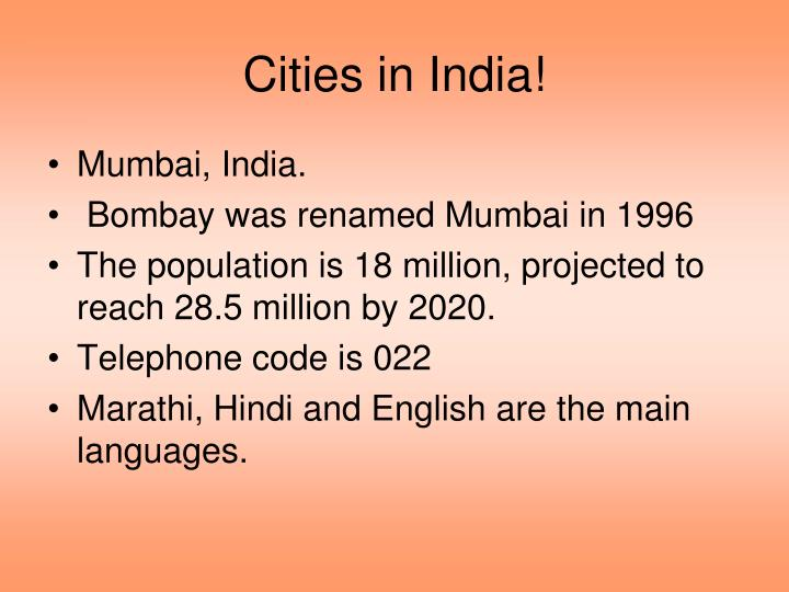 Cities in India!