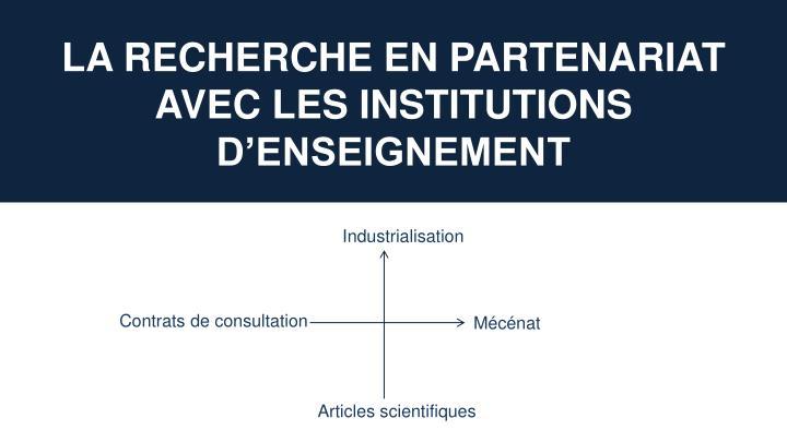 La recherche en partenariat avec les institutions d'enseignement