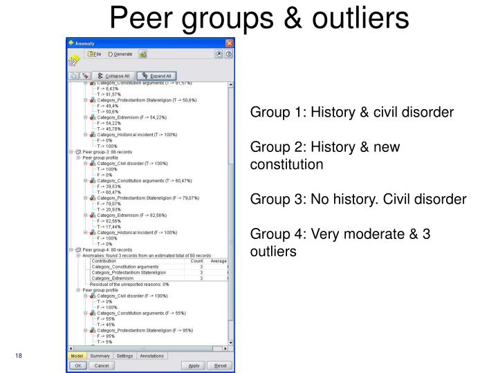 Peer groups & outliers