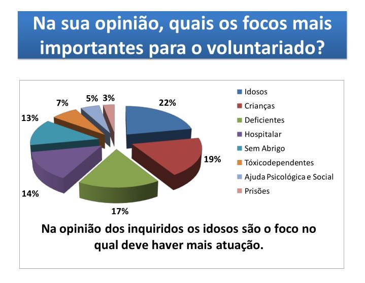 Na sua opinião, quais os focos mais importantes para o voluntariado?