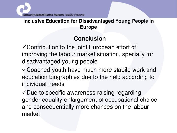 Inclusive Education for Disadvantaged Young People in Europe