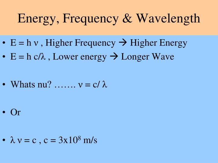 Energy, Frequency & Wavelength