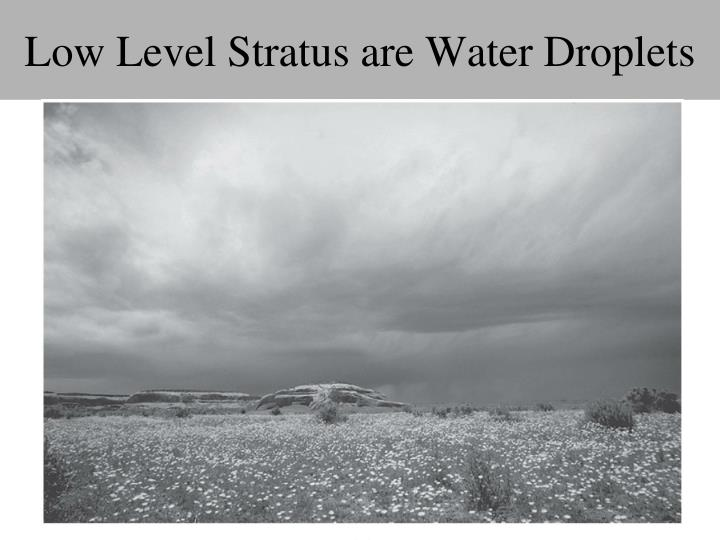 Low Level Stratus are Water Droplets