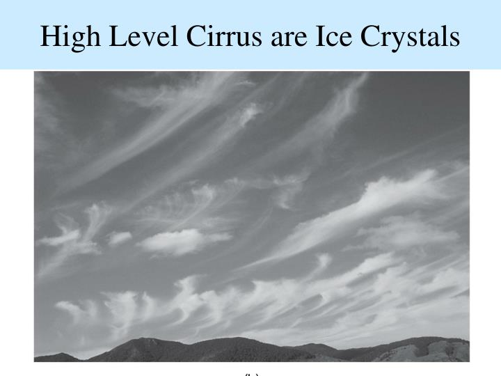 High Level Cirrus are Ice Crystals