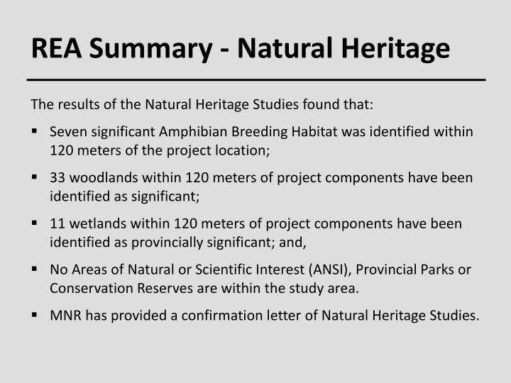 REA Summary - Natural Heritage