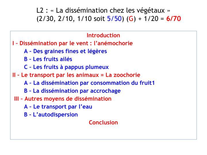 L2 : «La dissémination chez les végétaux»
