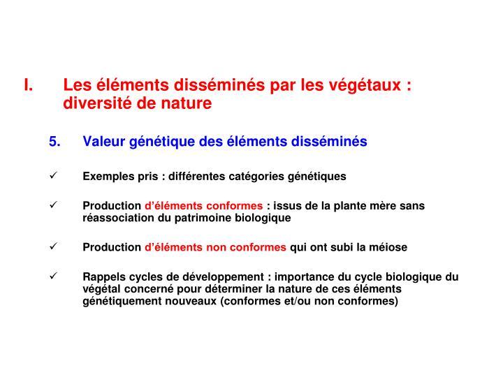 Les éléments disséminés par les végétaux : diversité de nature