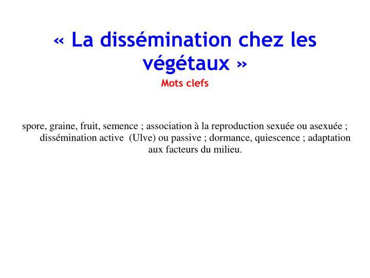 « La dissémination chez les végétaux»