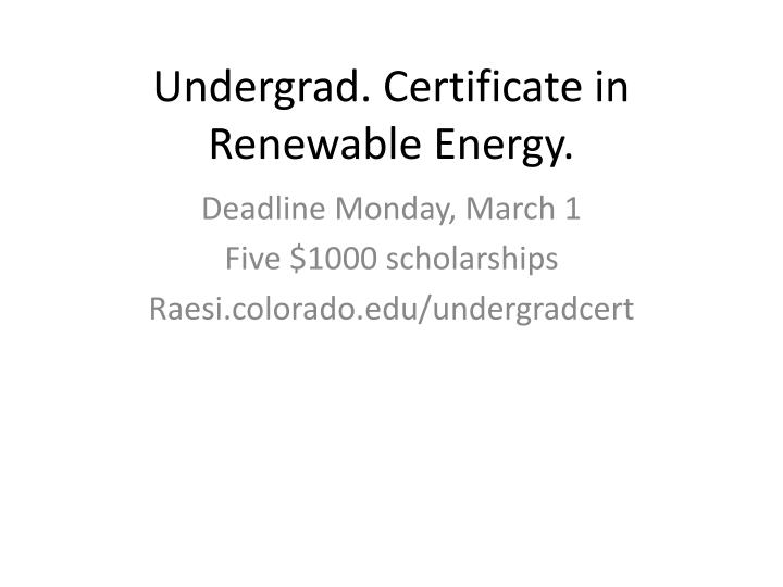 Undergrad certificate in renewable energy