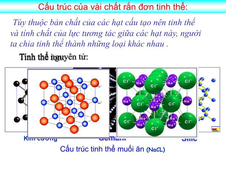Cấu trúc của vài chất rắn đơn tinh thể: