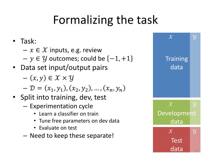 Formalizing the task