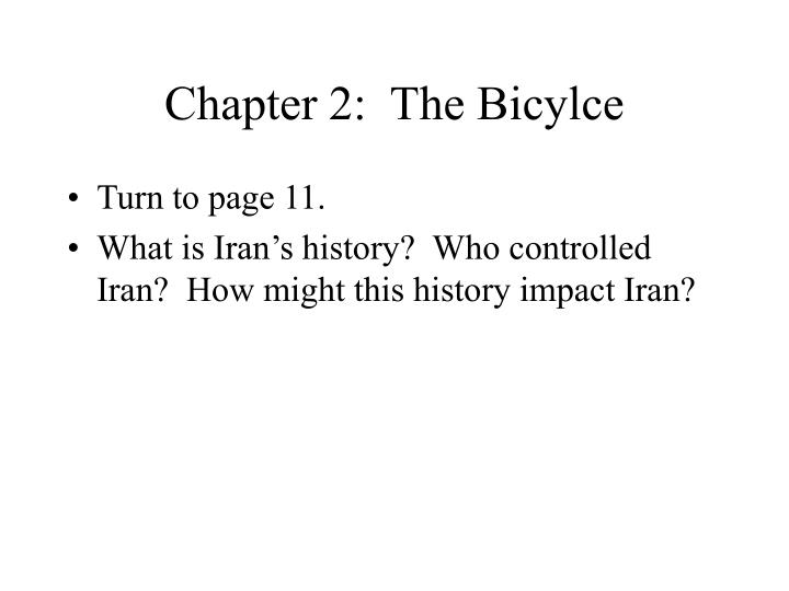 Chapter 2:  The Bicylce