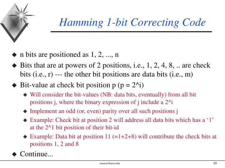 Hamming 1-bit Correcting Code