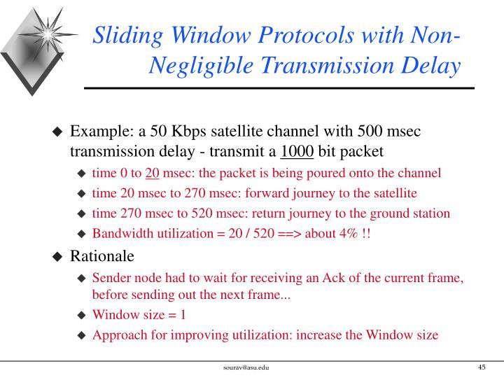 Sliding Window Protocols with Non-Negligible Transmission Delay