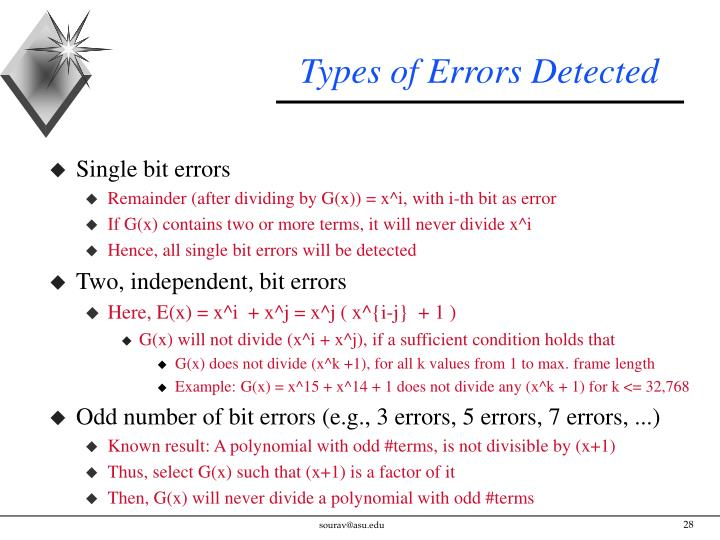 Types of Errors Detected