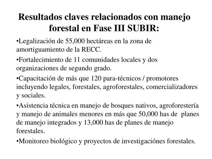 Resultados claves relacionados con manejo forestal en Fase III SUBIR: