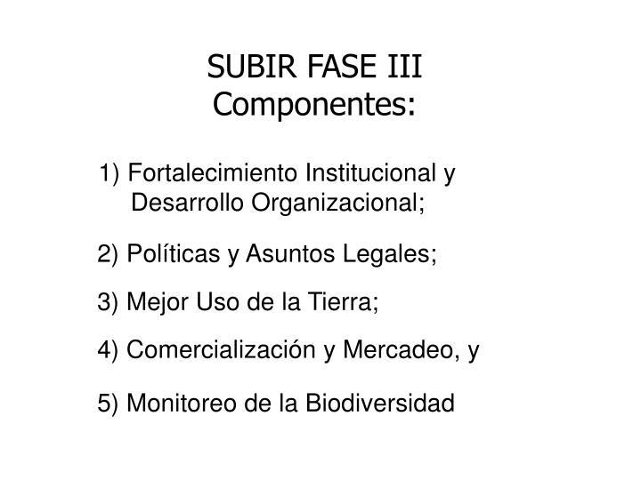 SUBIR FASE III Componentes: