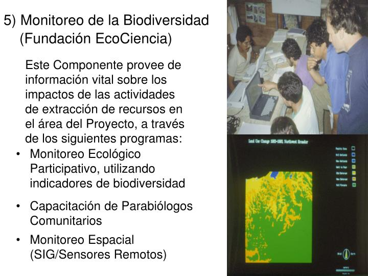 5) Monitoreo de la Biodiversidad