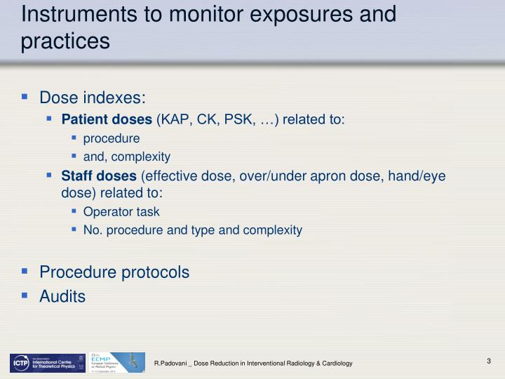 Instruments to monitor exposures and practices