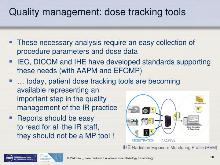 Quality management: dose tracking tools