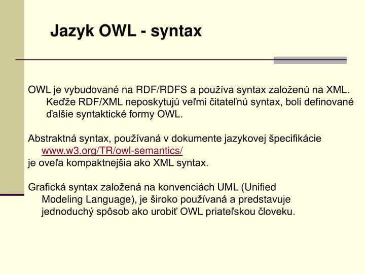 Jazyk OWL - syntax