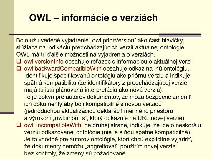 OWL – informácie o verziách