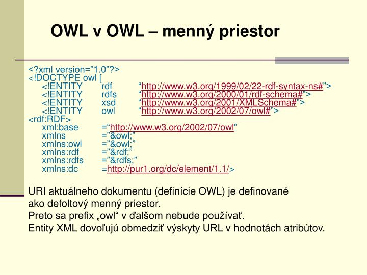 OWL v OWL – menný priestor
