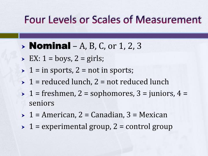 Four Levels or Scales of Measurement