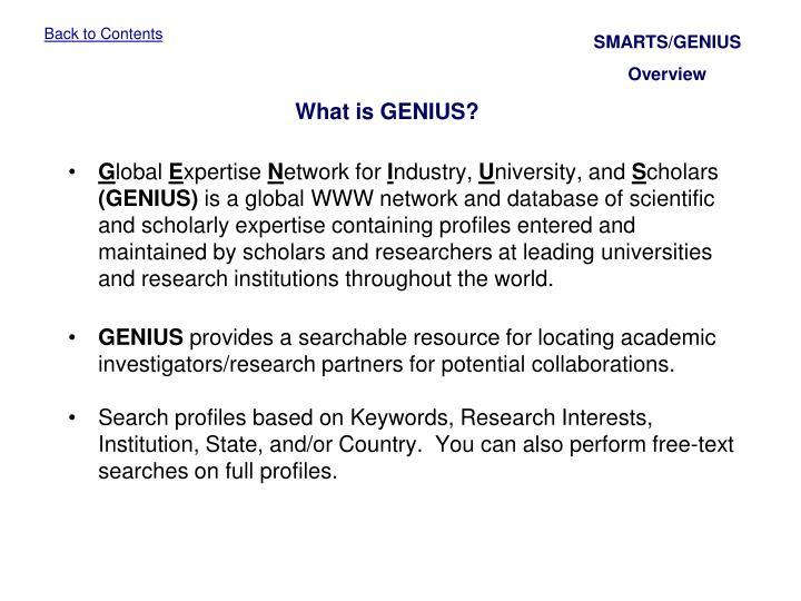 SMARTS/GENIUS