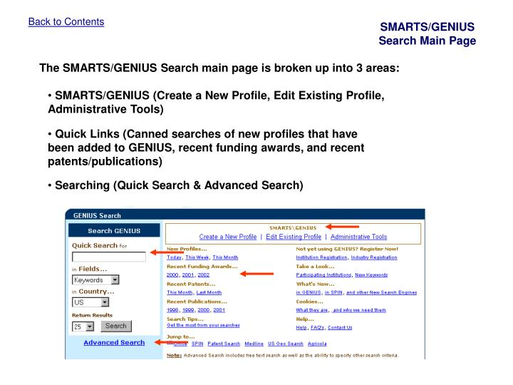 SMARTS/GENIUS Search Main Page