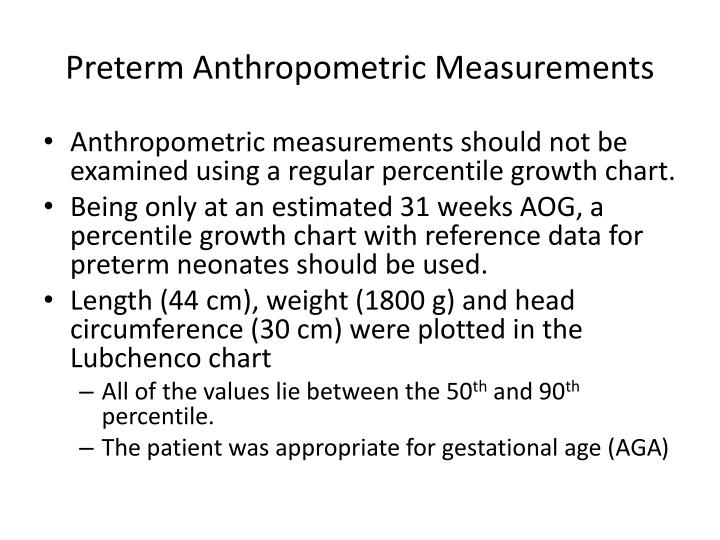 Preterm anthropometric measurements
