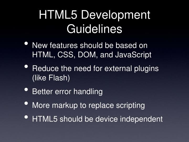 HTML5 Development Guidelines